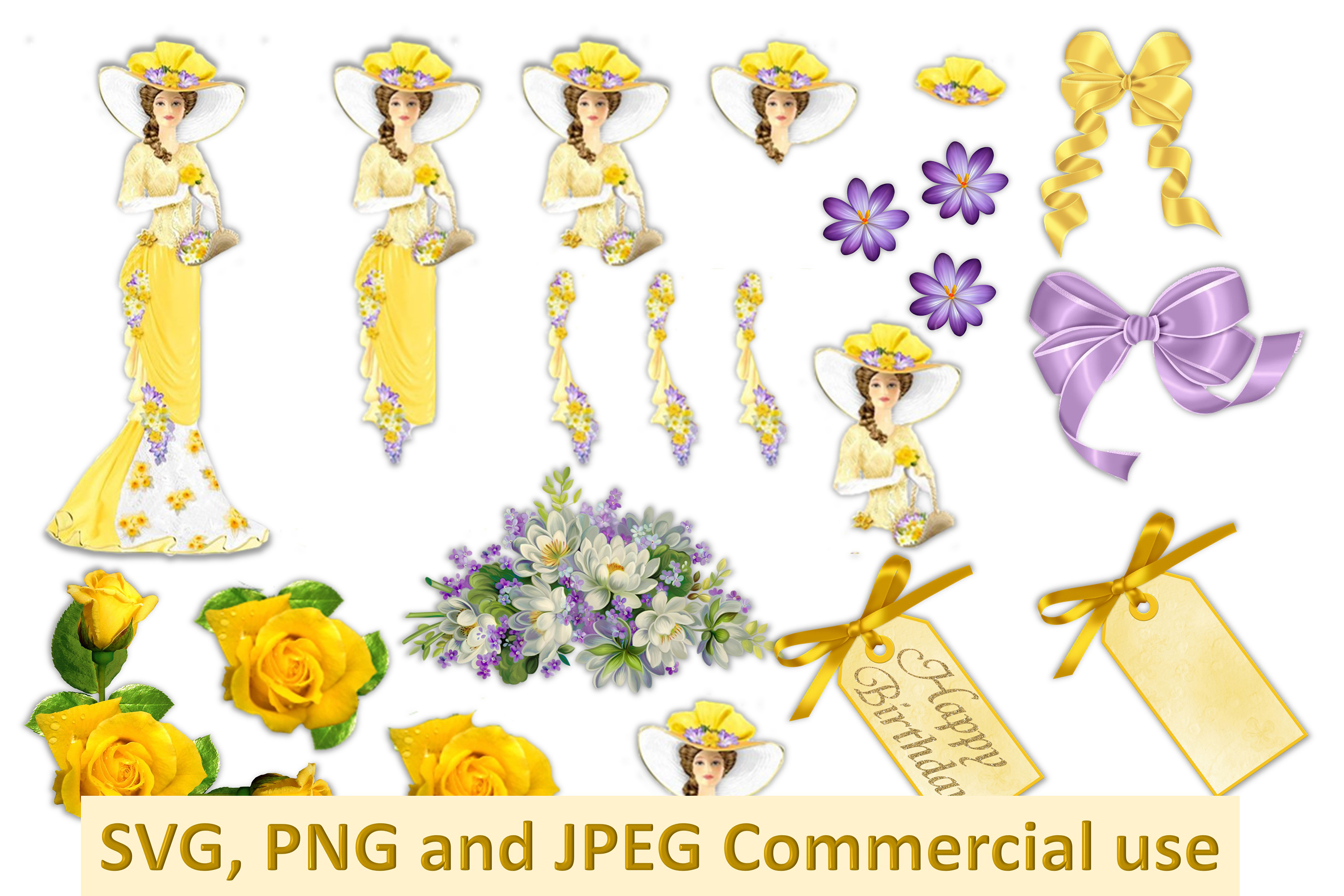 Vintage Collage Clipart Bundle Commercial Use SVG PNG JPEG example image 1