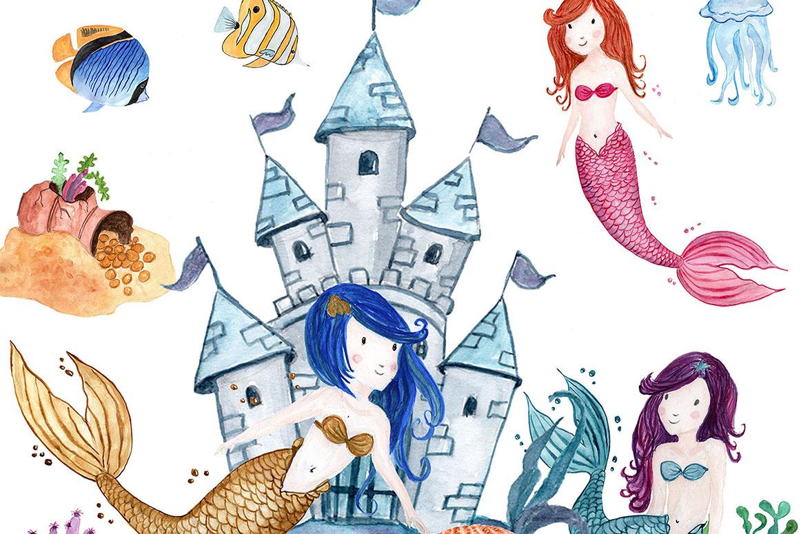 Watercolor Mermaids clip art example image 3