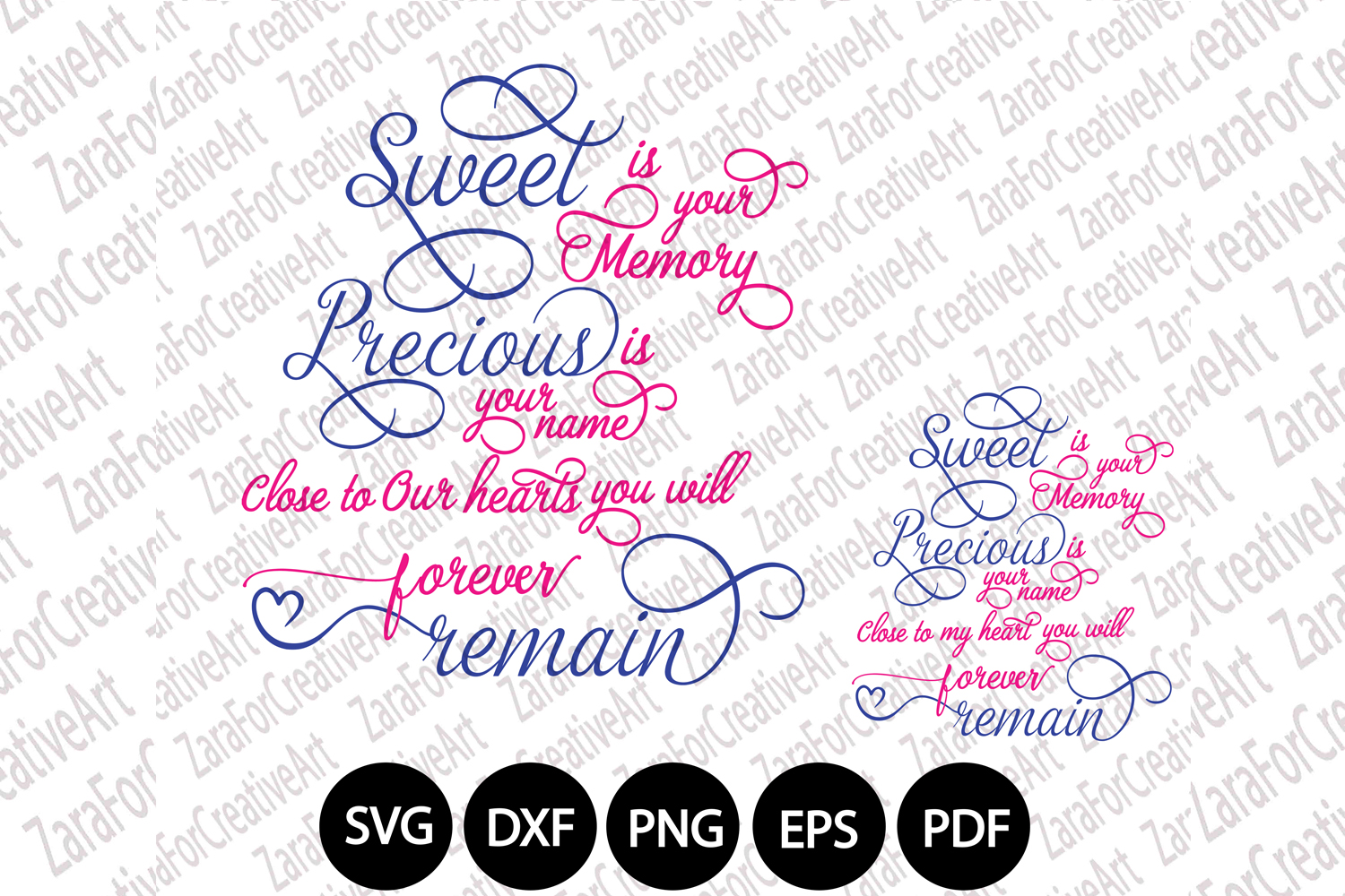 Sweet is your memory Precious is your name svg dxf png eps example image 1