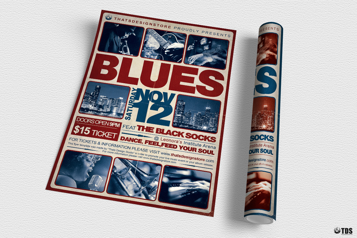Blues Festival Flyer Template V2 example image 3