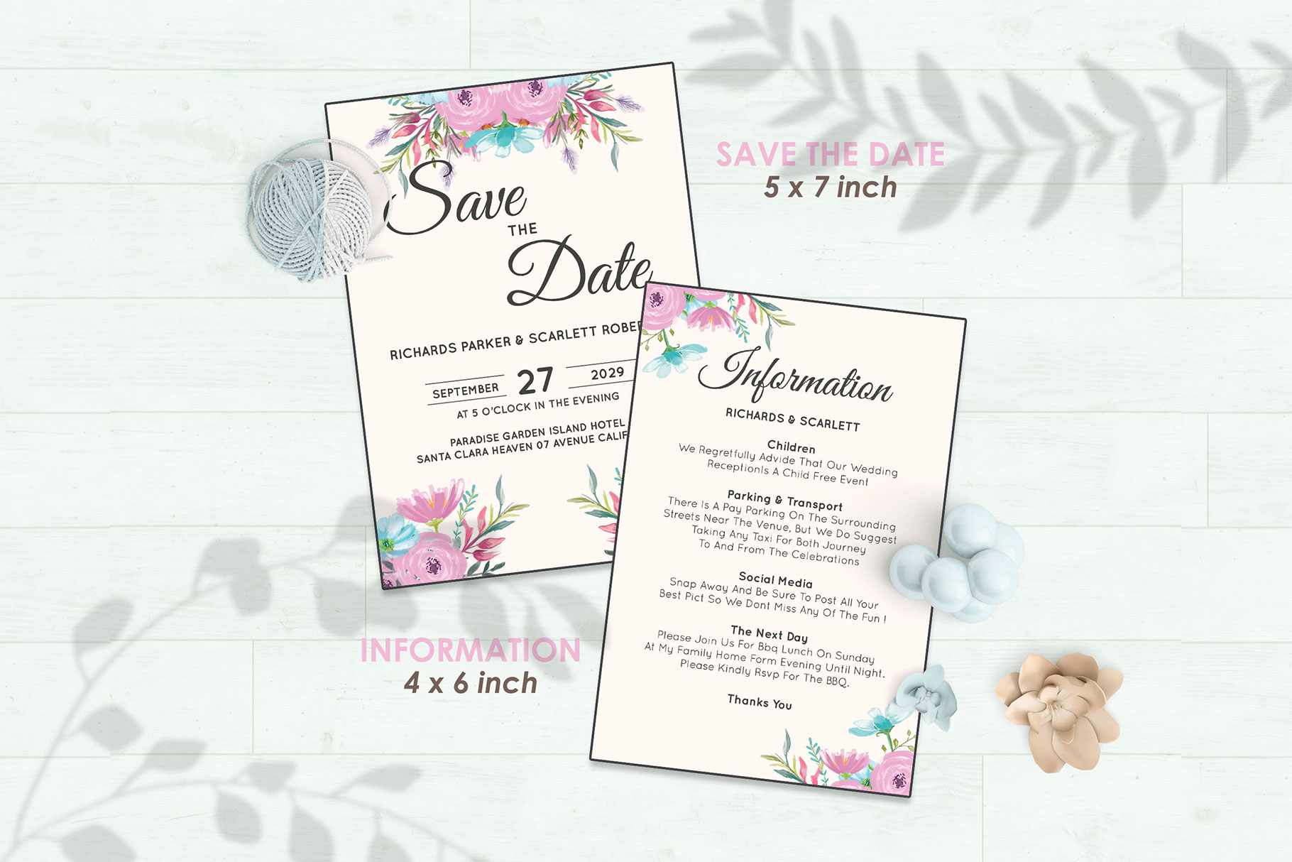 Wedding Invitation Set #12 Watercolor Floral Flower Style example image 3