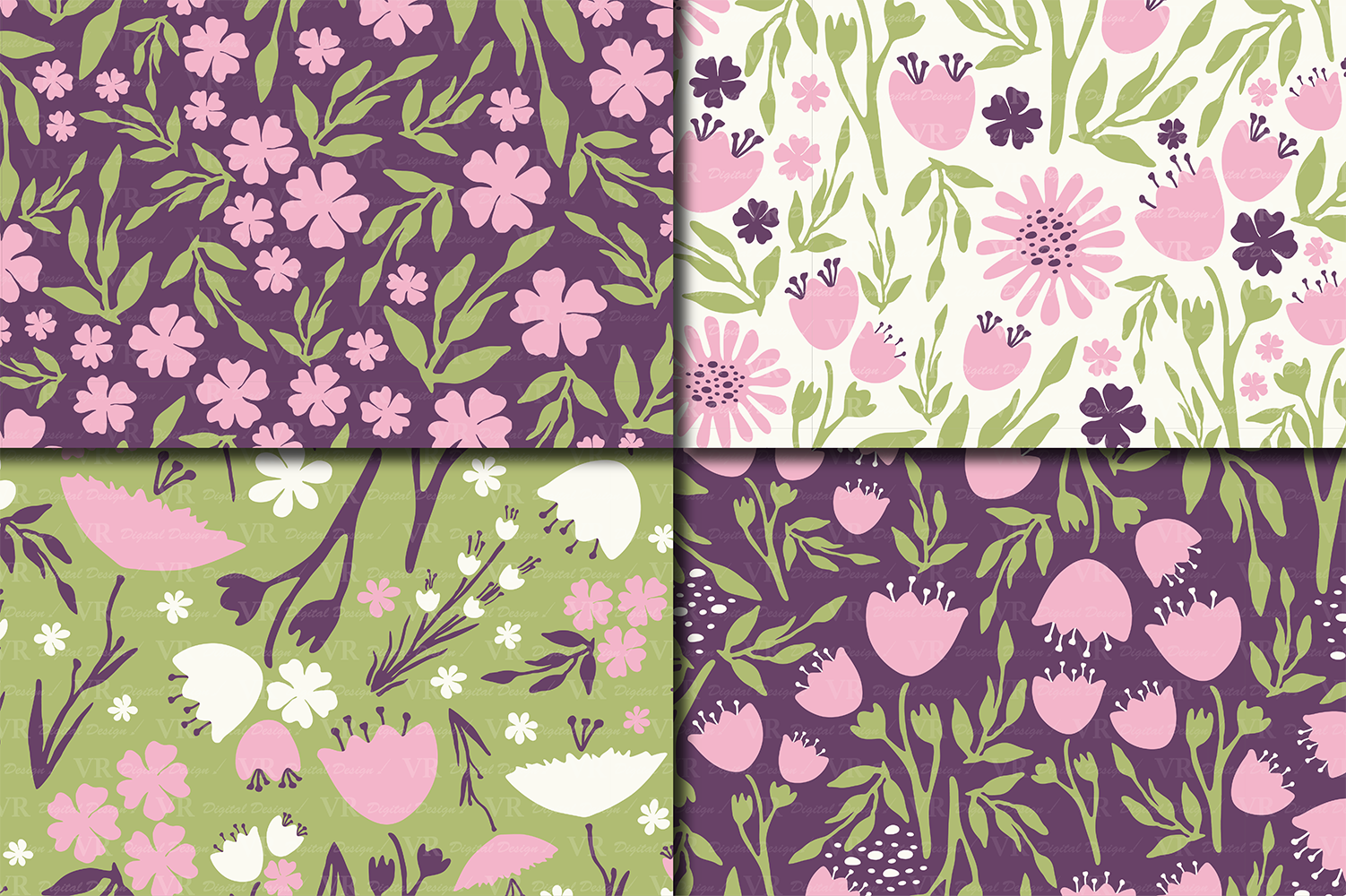 Seamless Floral Digital Paper, Hand Drawn Flowers - Pink Purple Green example image 2