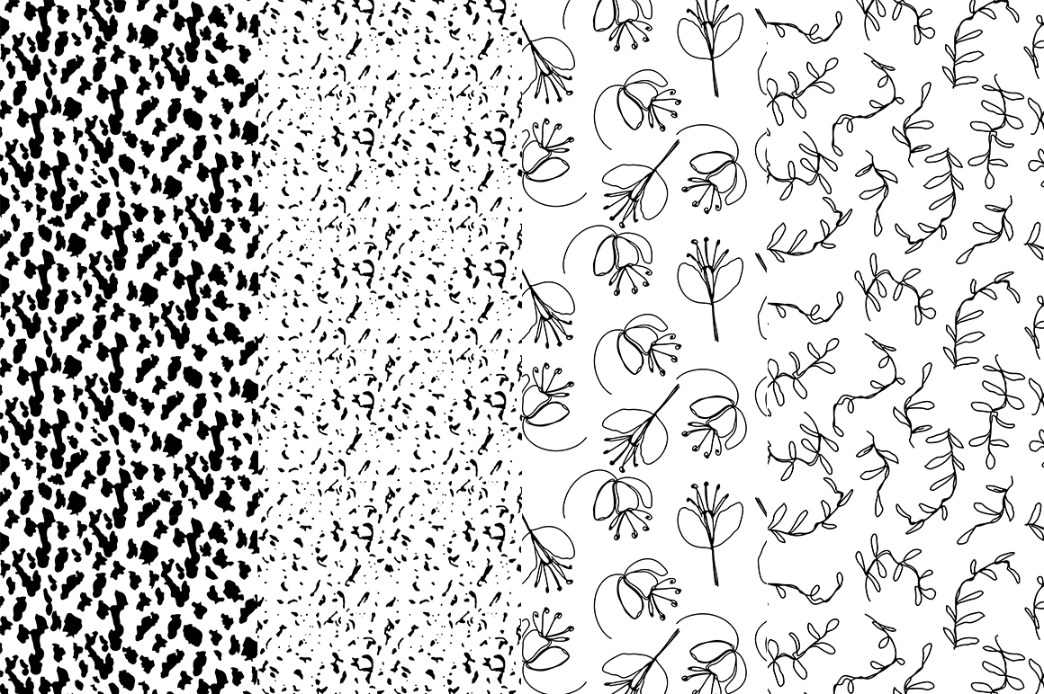 37 monochrome patterns. Hand drawn seamless backgrounds. example image 6