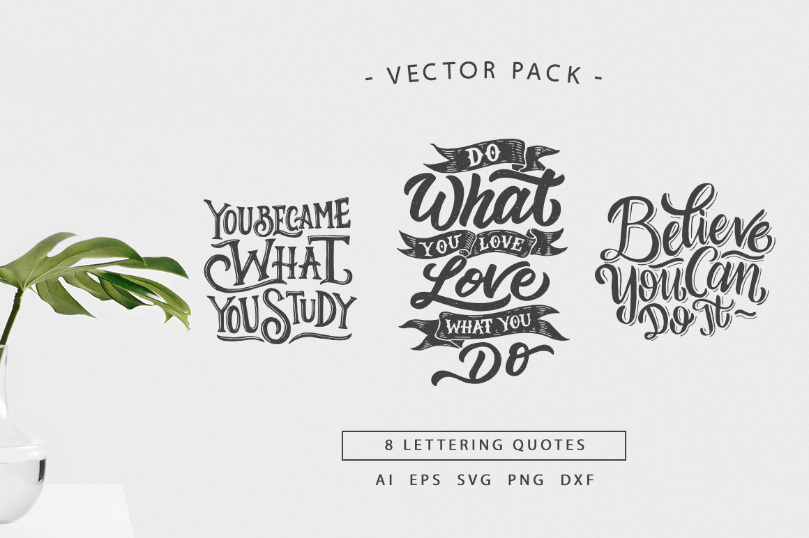 SVG Bundle - Hand Lettering Motivational Quotes Vol 2 example image 1