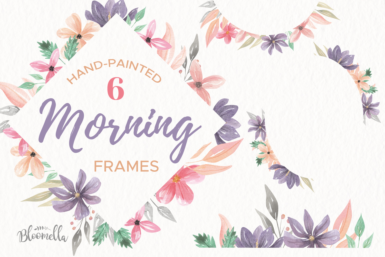 Watercolor Frames Borders Set Purple Flowers Floral Spring example image 1