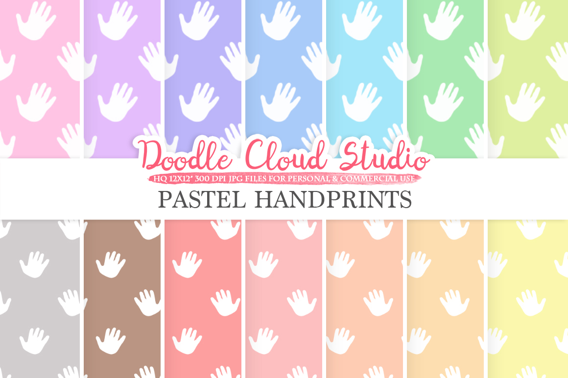 2 Sets of Pastel Handprints digital paper, Baby hands prints pattern, Digital Hand background Instant Download for Personal & Commercial Use example image 1