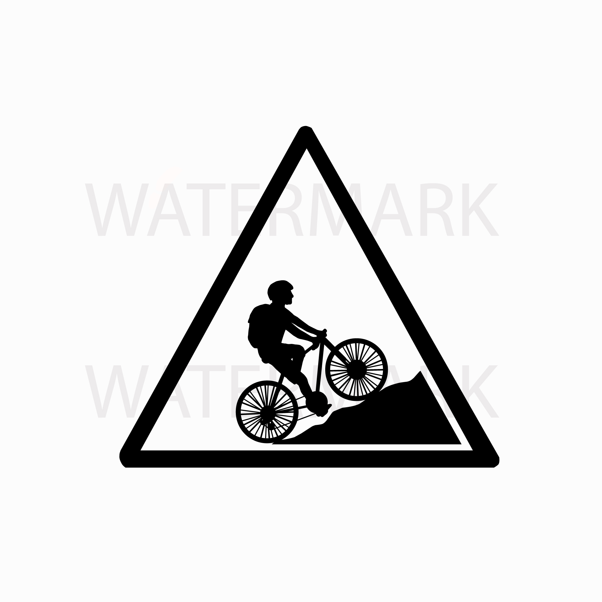 Bike on mountain in a triangle sign - SVG/JPG/PNG Hand Drawing example image 1