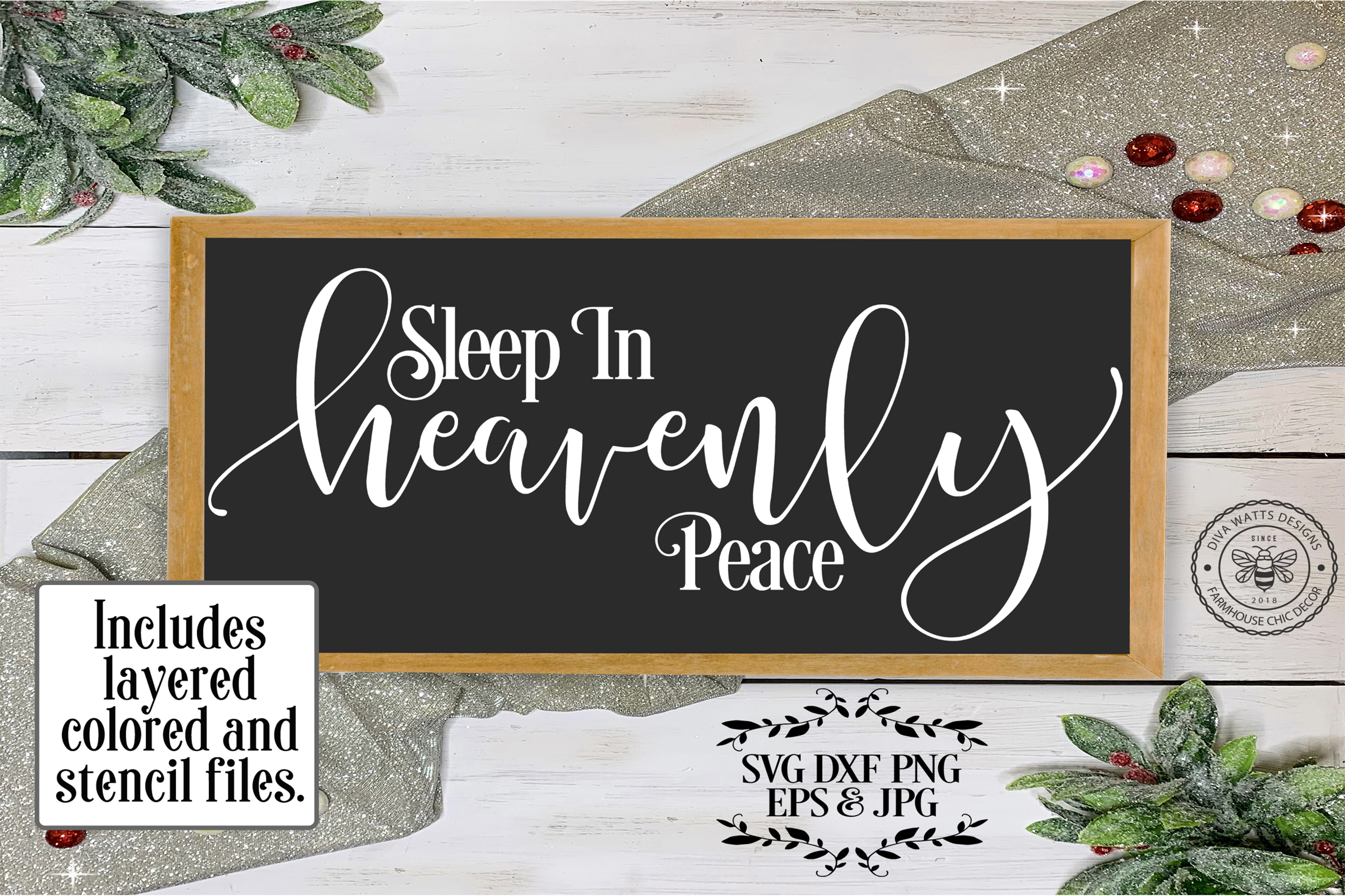 Sleep In Heavenly Peace Silent Night Cutting File example image 1