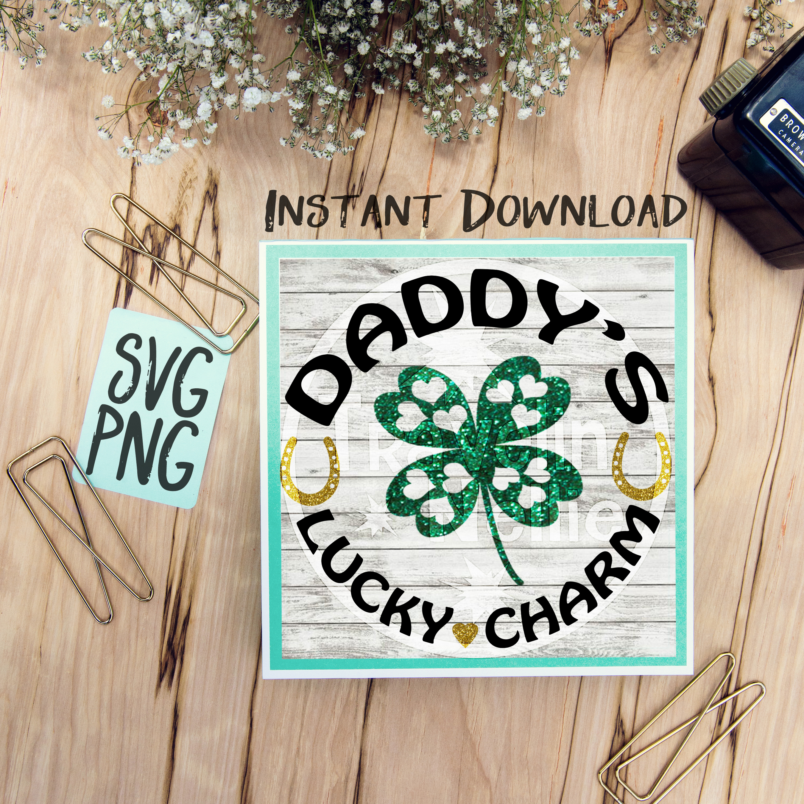 Daddy's Lucky Charm SVG PNG Cricut Cameo Silhouette Brother Scan & Cut Crafters Cutting Files for Vinyl Cutting Sign Making example image 1