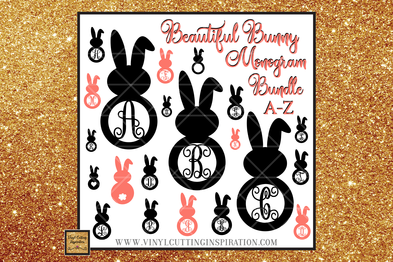Easter Svg, Easter Bunny Svg, Rustic Bunny Monogram Bundle example image 1