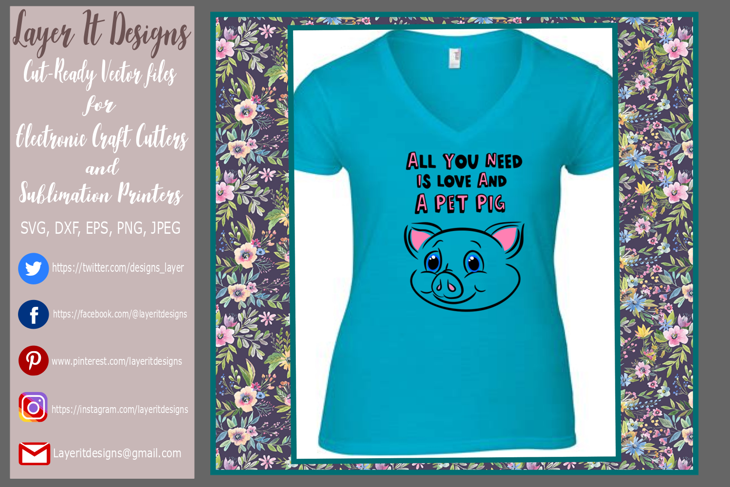 All You Need Is Love And A Pet Pig Design file example image 2