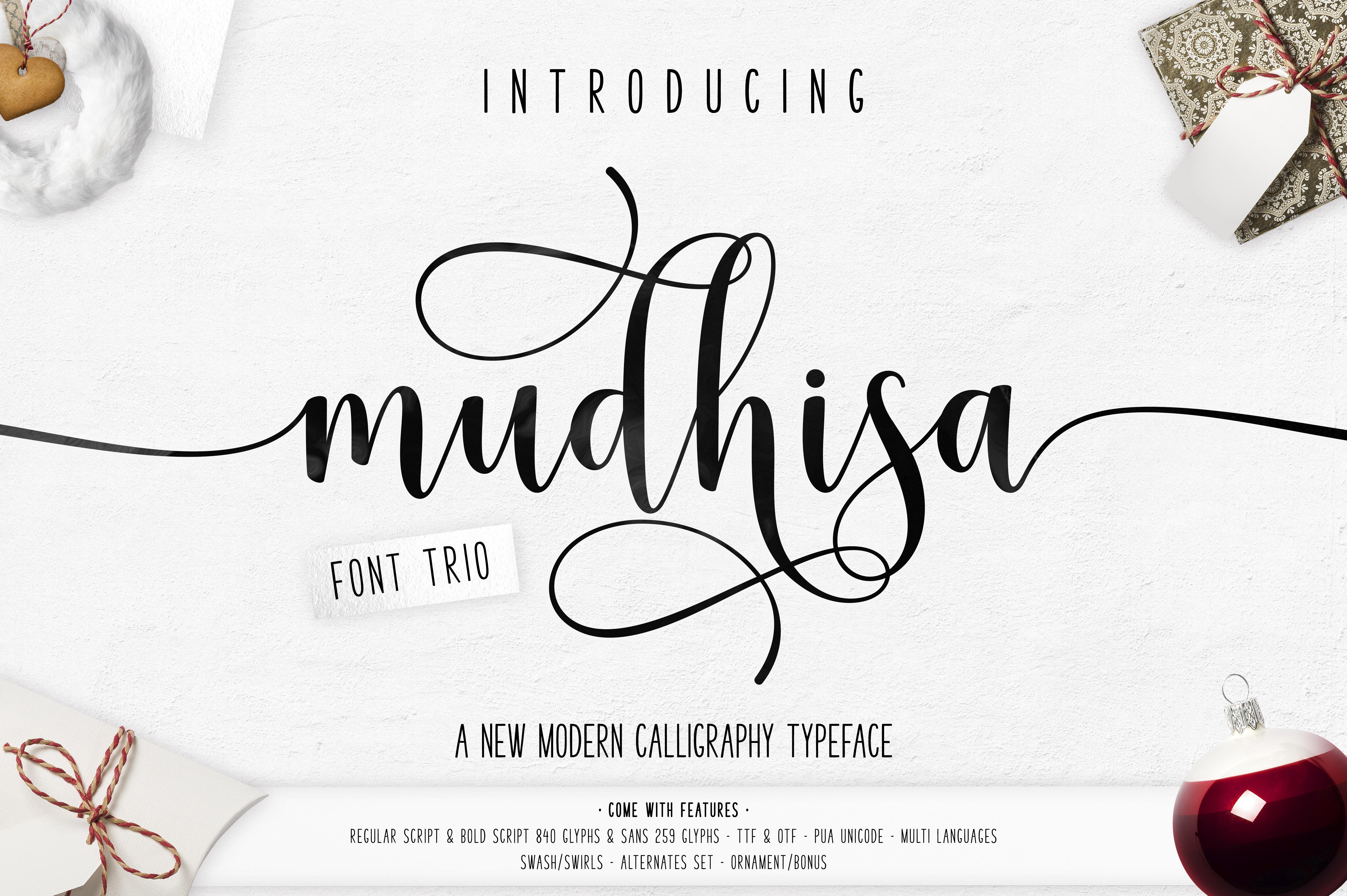Mudhisa Script Font Trio example image 1