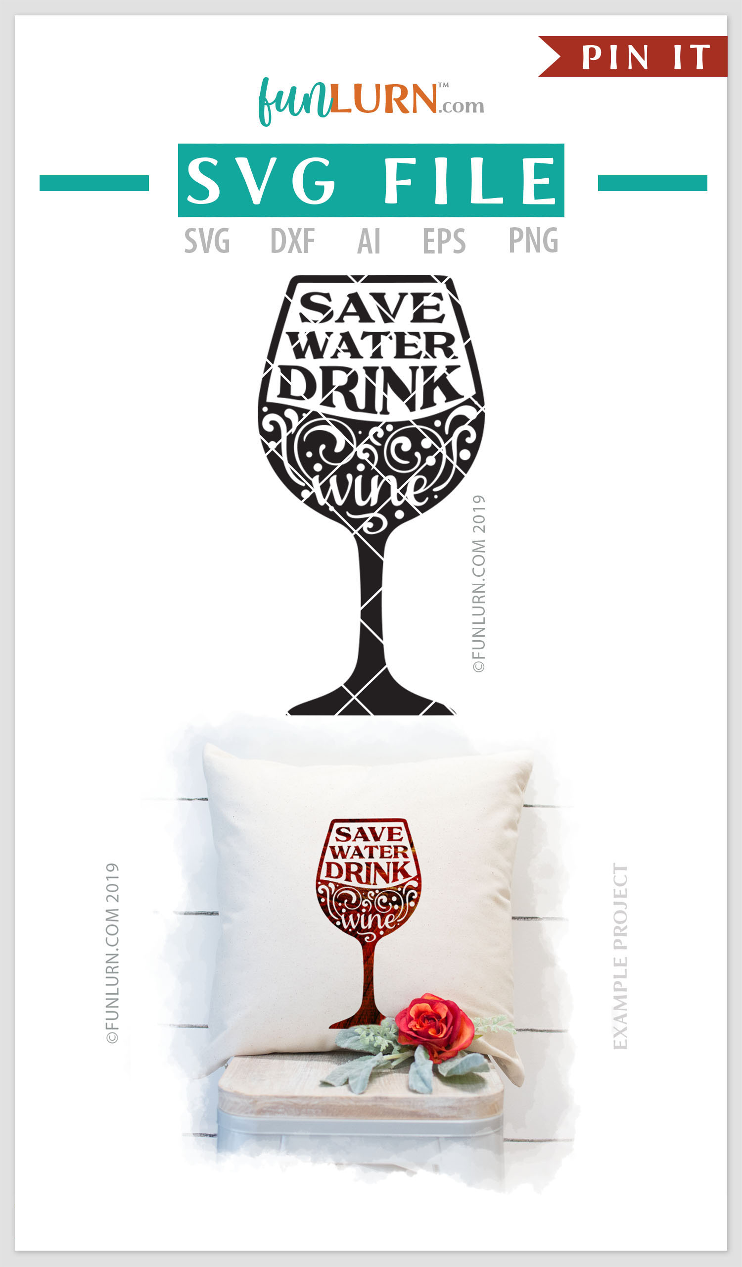 Save Water Drink Wine SVG Cut File example image 4