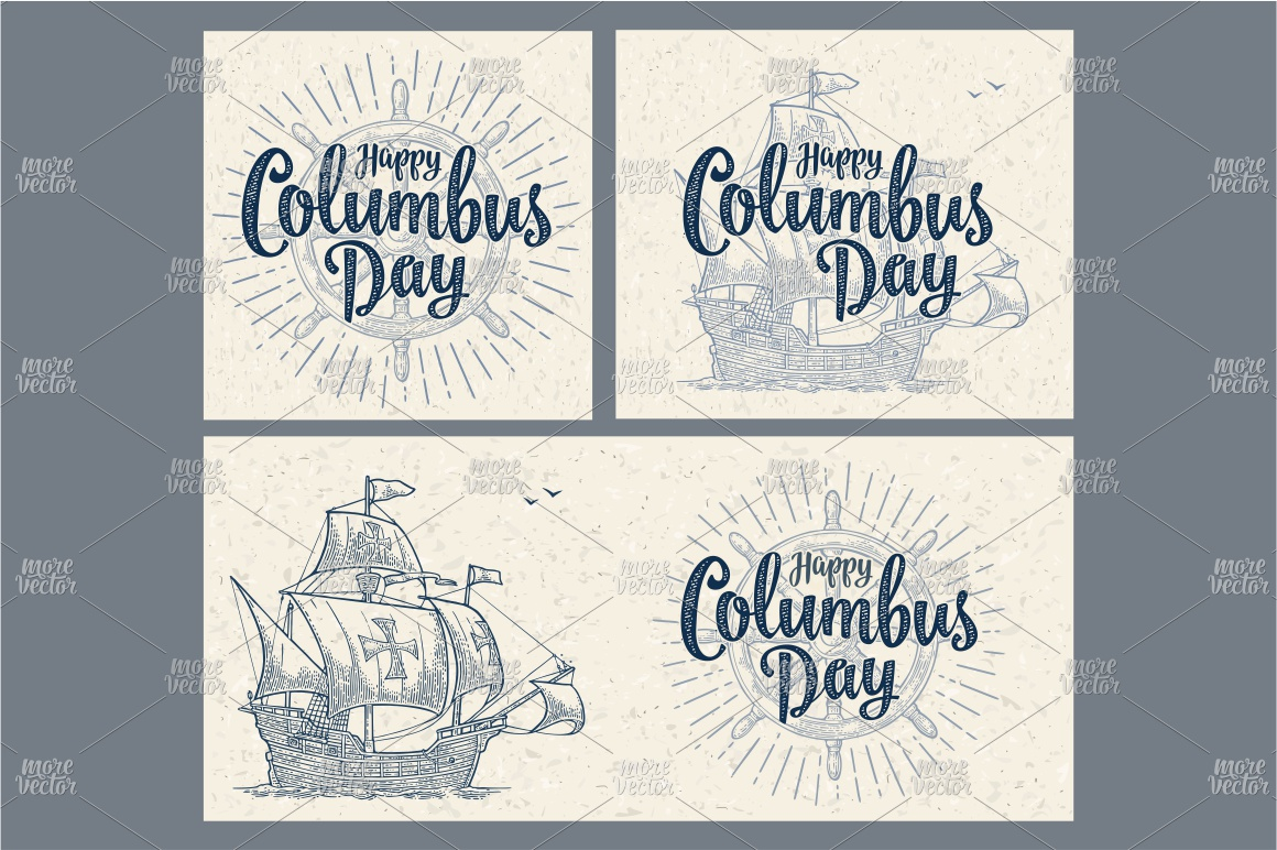 Posters Happy Columbus Day Sailing ship floating engraving example image 2