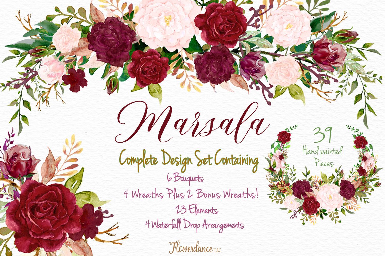 Watercolor Marsala and Blush Bundle for Weddings example image 1