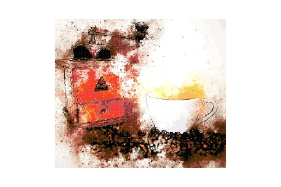 Watercolor Coffee Grinder Cross Stitch Pattern example image 1