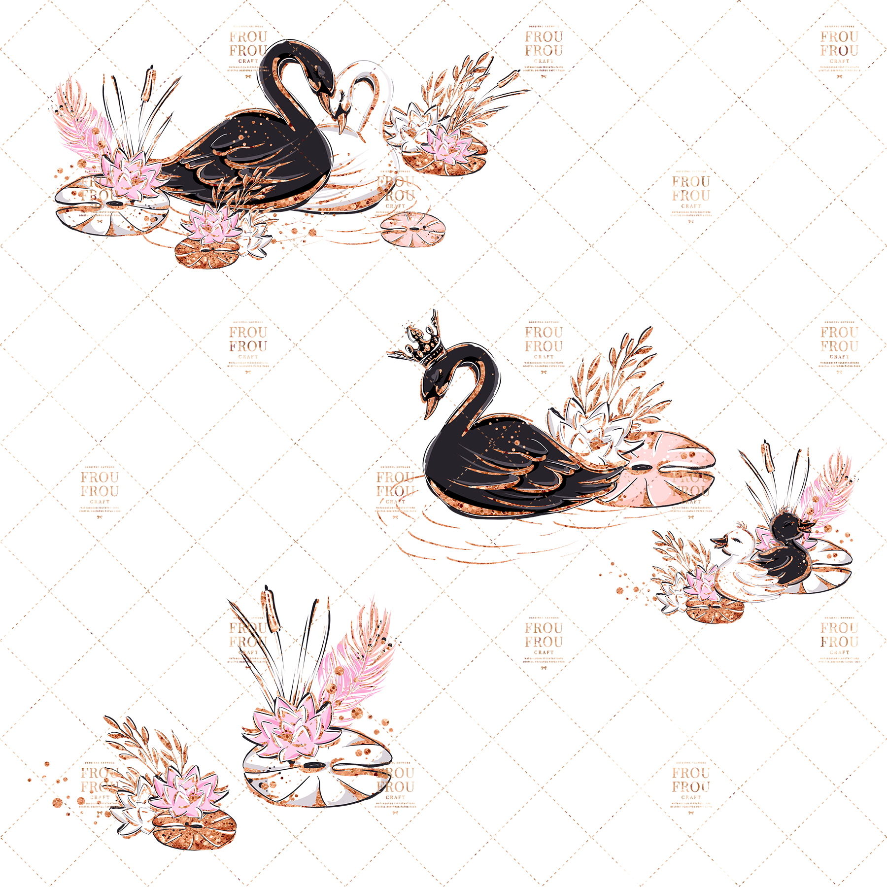 Swan Rose Gold Glitter Nursery Clip Art example image 5