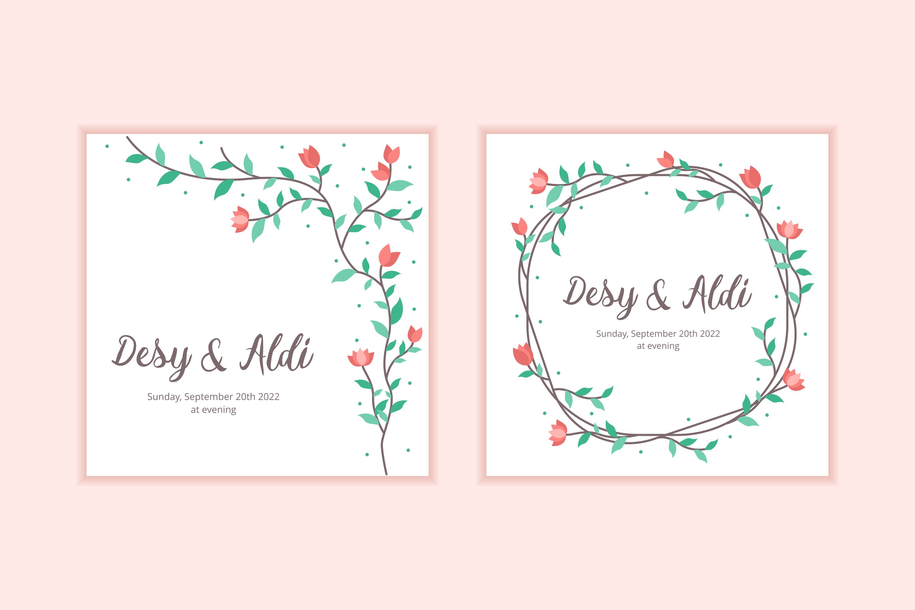 10 Floral Frame Wedding Invitation Template example image 2