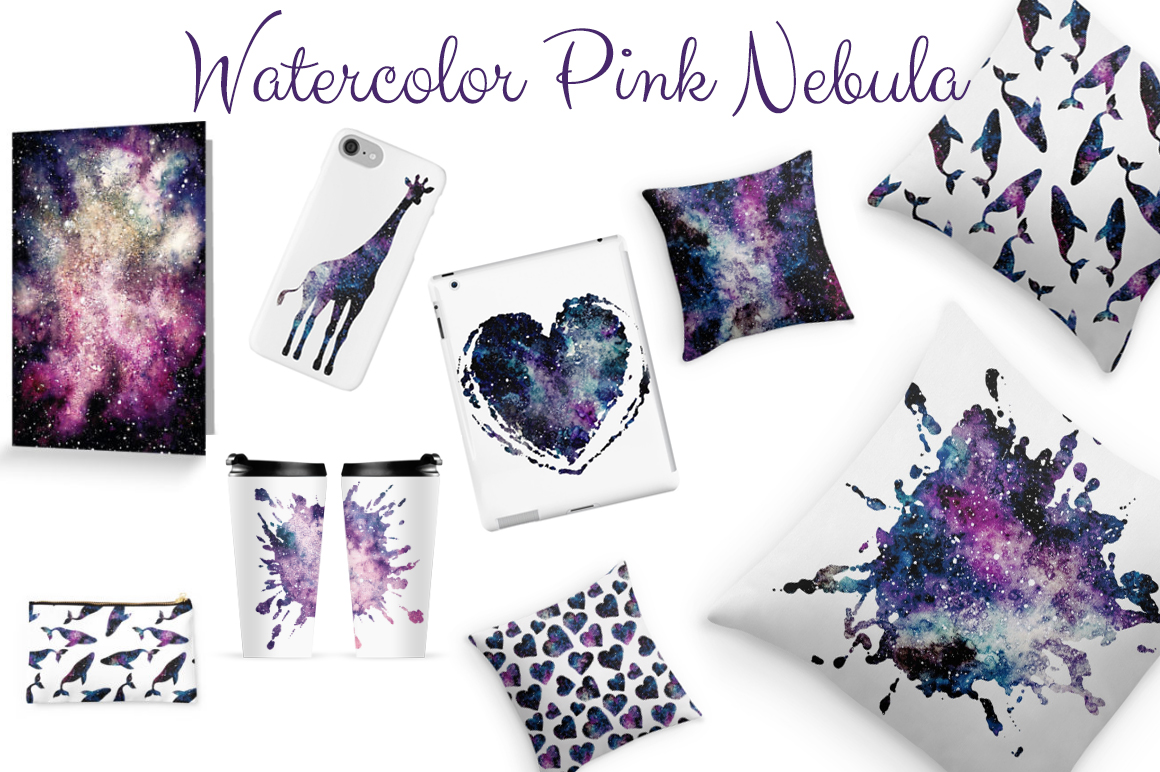 Watercolor Pink Nebula Collection example image 6