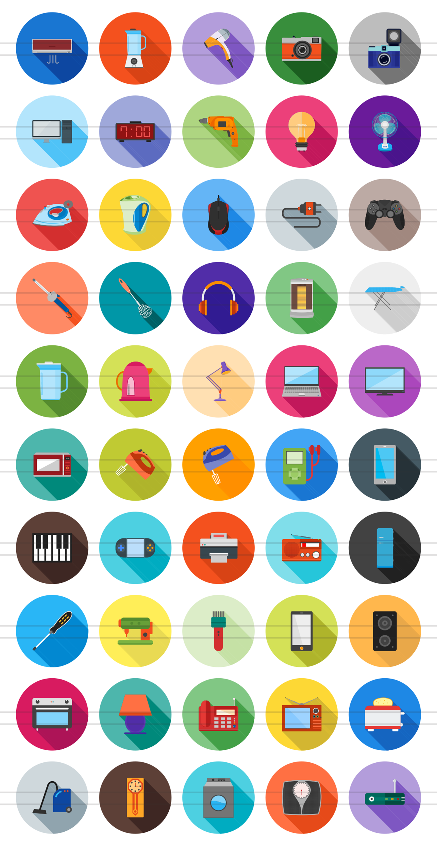 50 Home Electronics Flat Long Shadow Icons example image 2