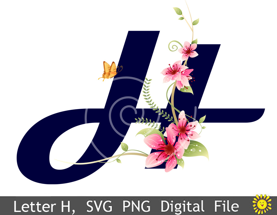 Floral Alphabet, Letters, Clipart, Vector, SVG, PNG  sv
