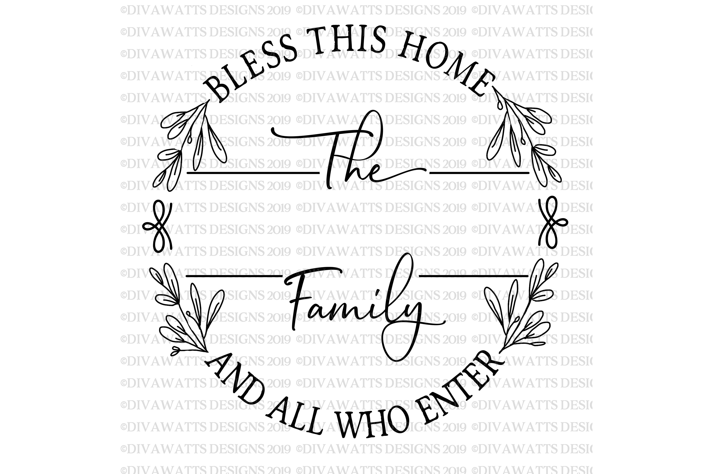 Bless This Home And All Who Enter - Family Name - Round SVG example image 3
