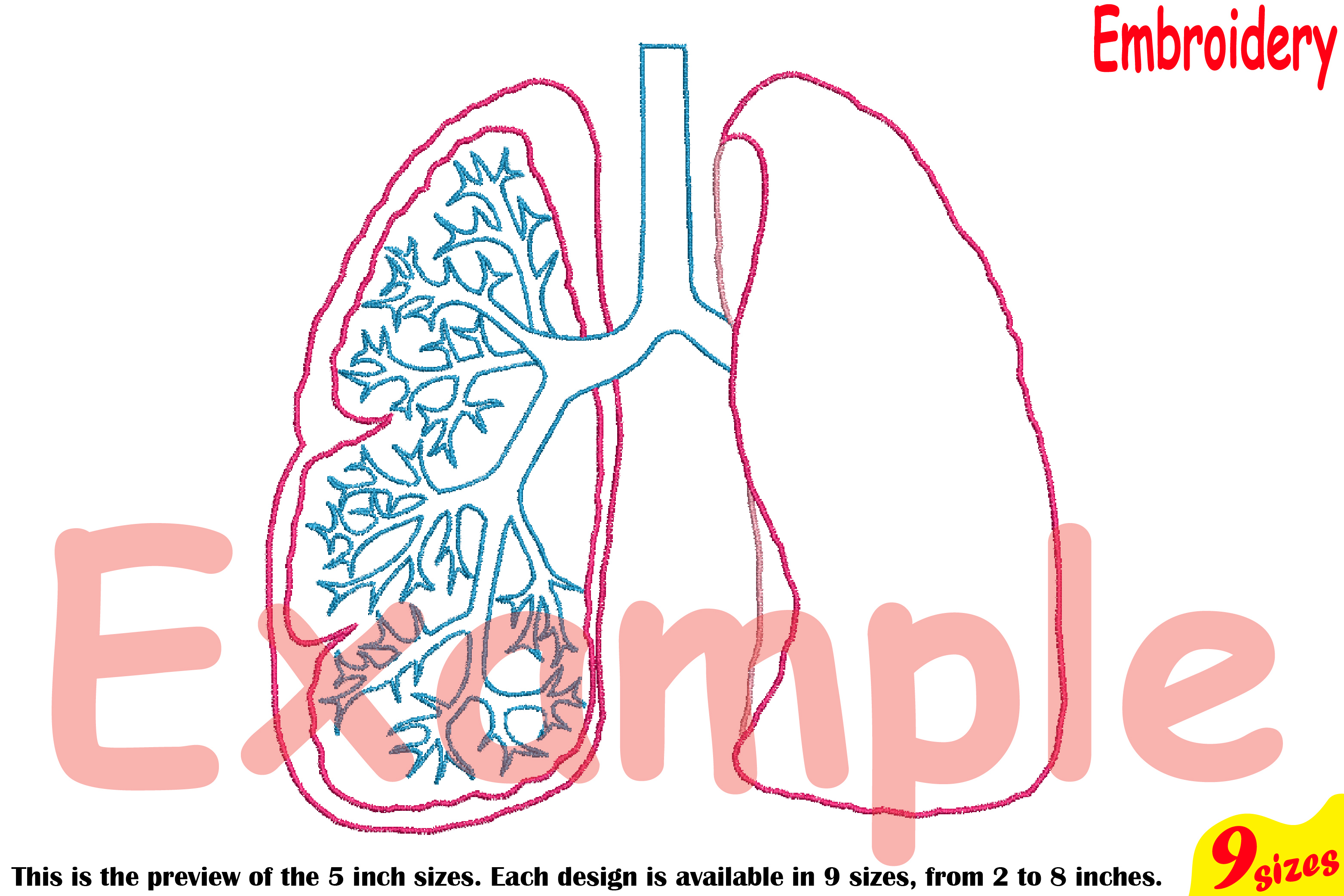 Lungs Outline Embroidery Design Machine Instant Download Commercial Use digital science school hospital biology Medic Organs Anatomy 203b example image 4