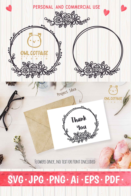 Valentines Floral Monogram cut file, Circle Flowers Wreaths example image 9
