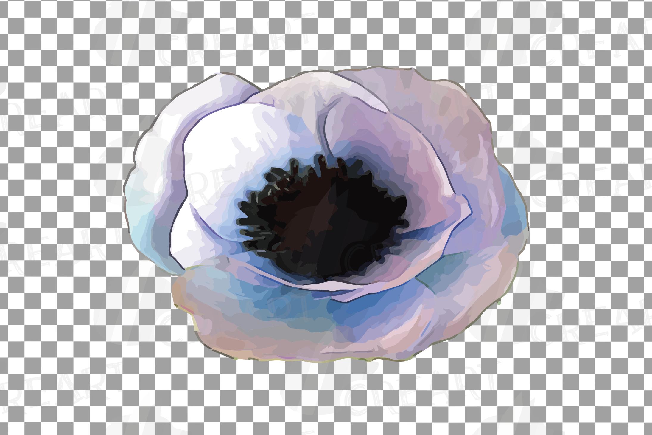 Anemone watercolor clip art pack, watercolor anemone design example image 8
