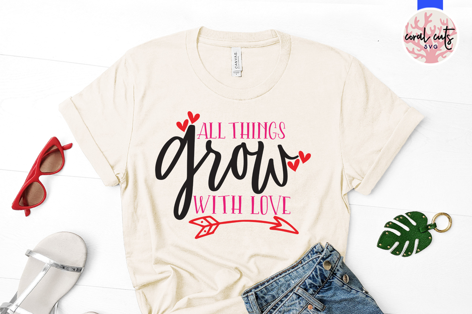 All things grows with love - SVG EPS DXF PNG File example image 2