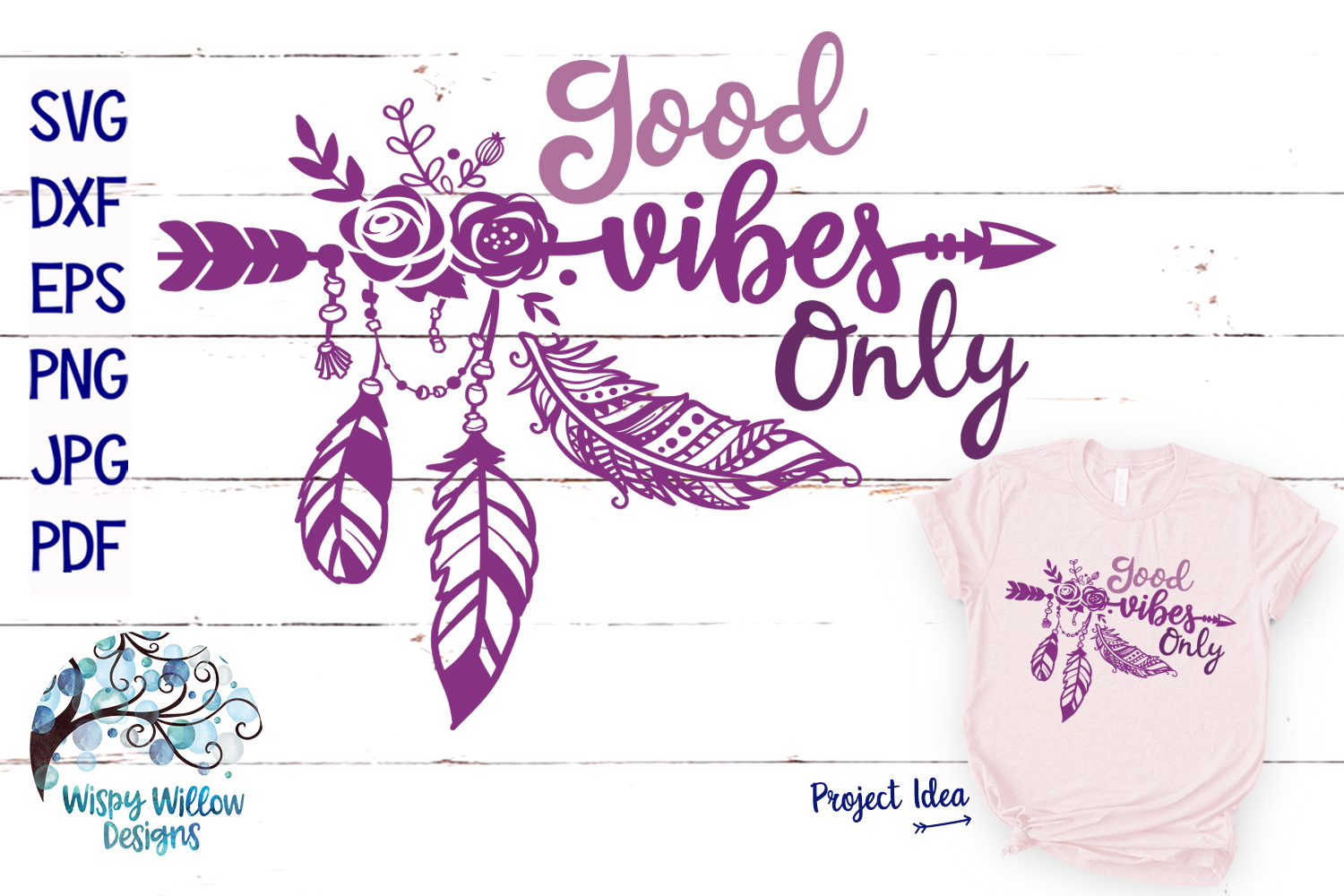 Good Vibes Only SVG   Boho Feather  Hippie SVG Cut File example image 1