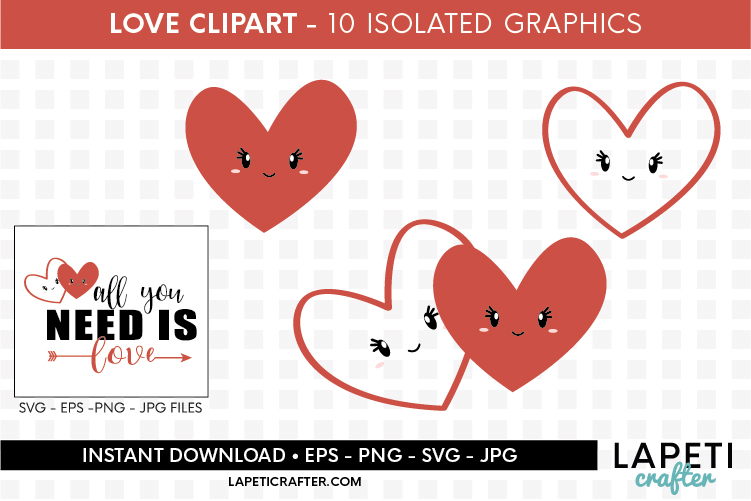 Valentines Day clip art, all you need is love svg, eps, png example image 7