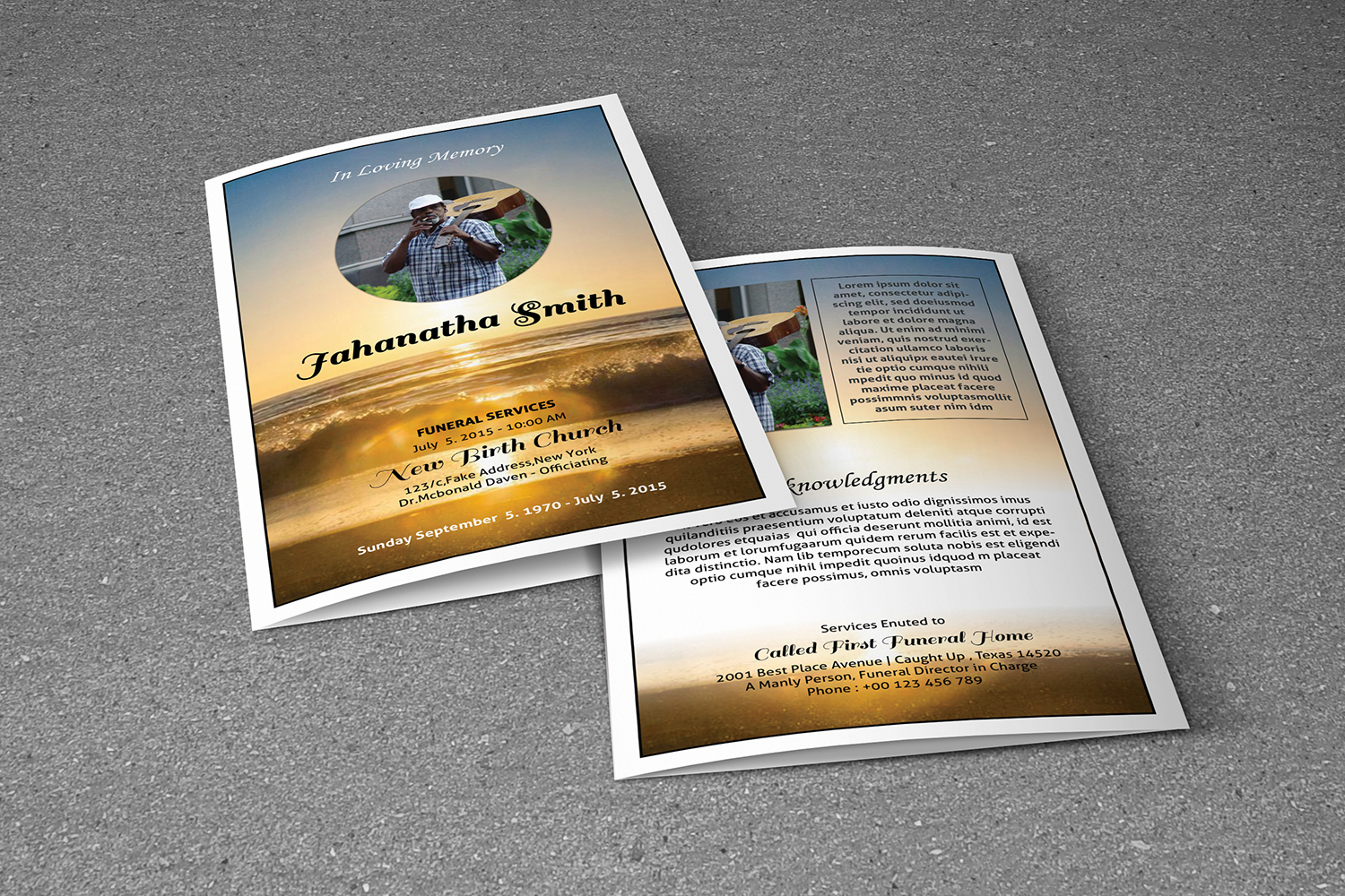 Printable Funeral Program Template example image 3