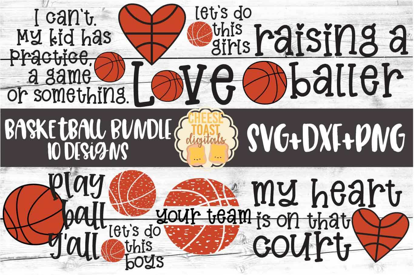 Basketball Bundle - 10 Designs - SVG PNG DXF Cut Files example image 1