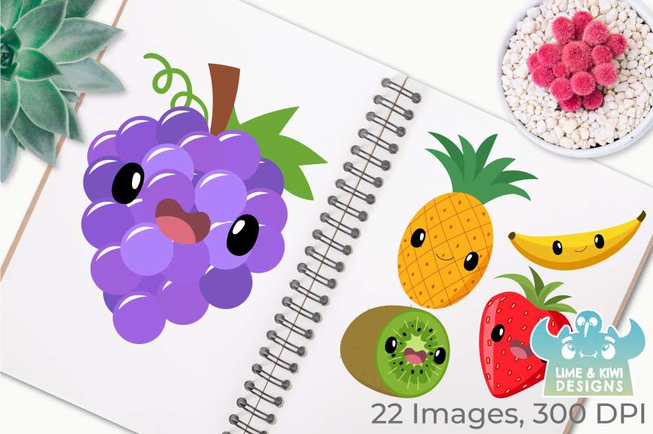 Cute Fruit Clipart, Instant Download Vector Art example image 3