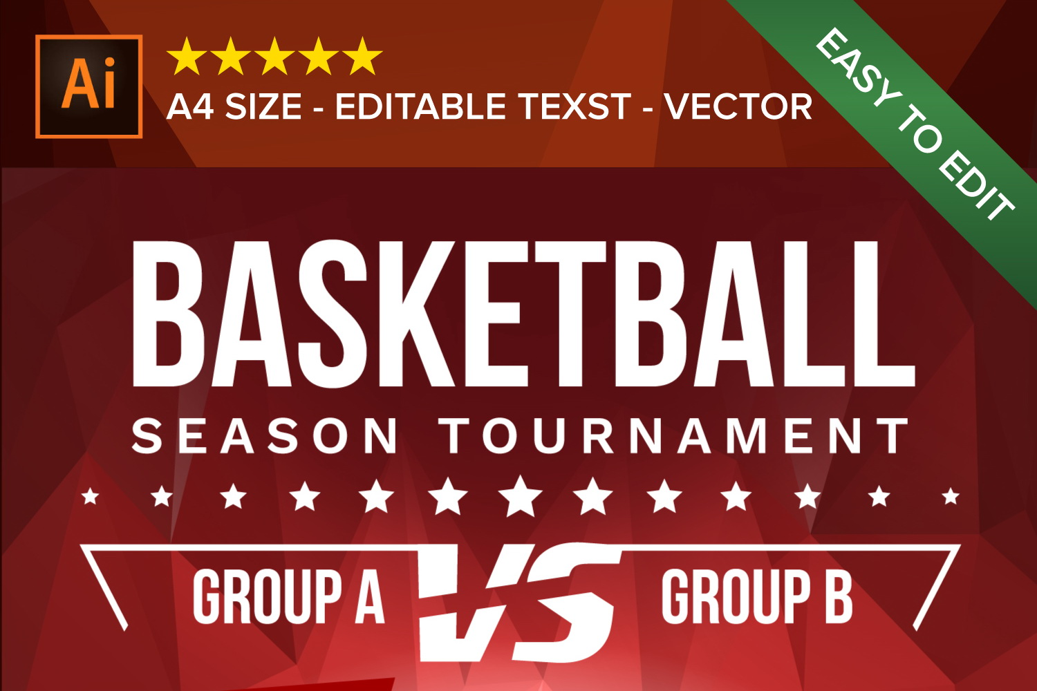 Basketball Poster Vector example image 3