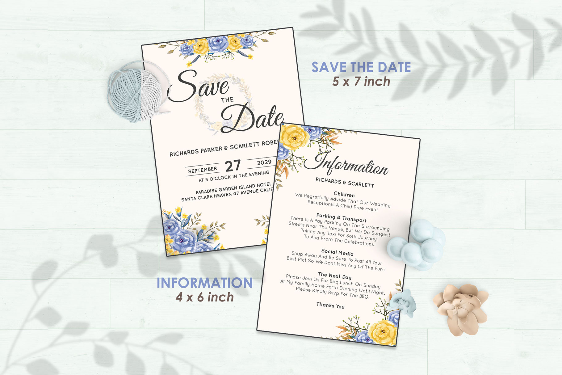Wedding Invitation Set #6 Watercolor Floral Flower Style example image 3