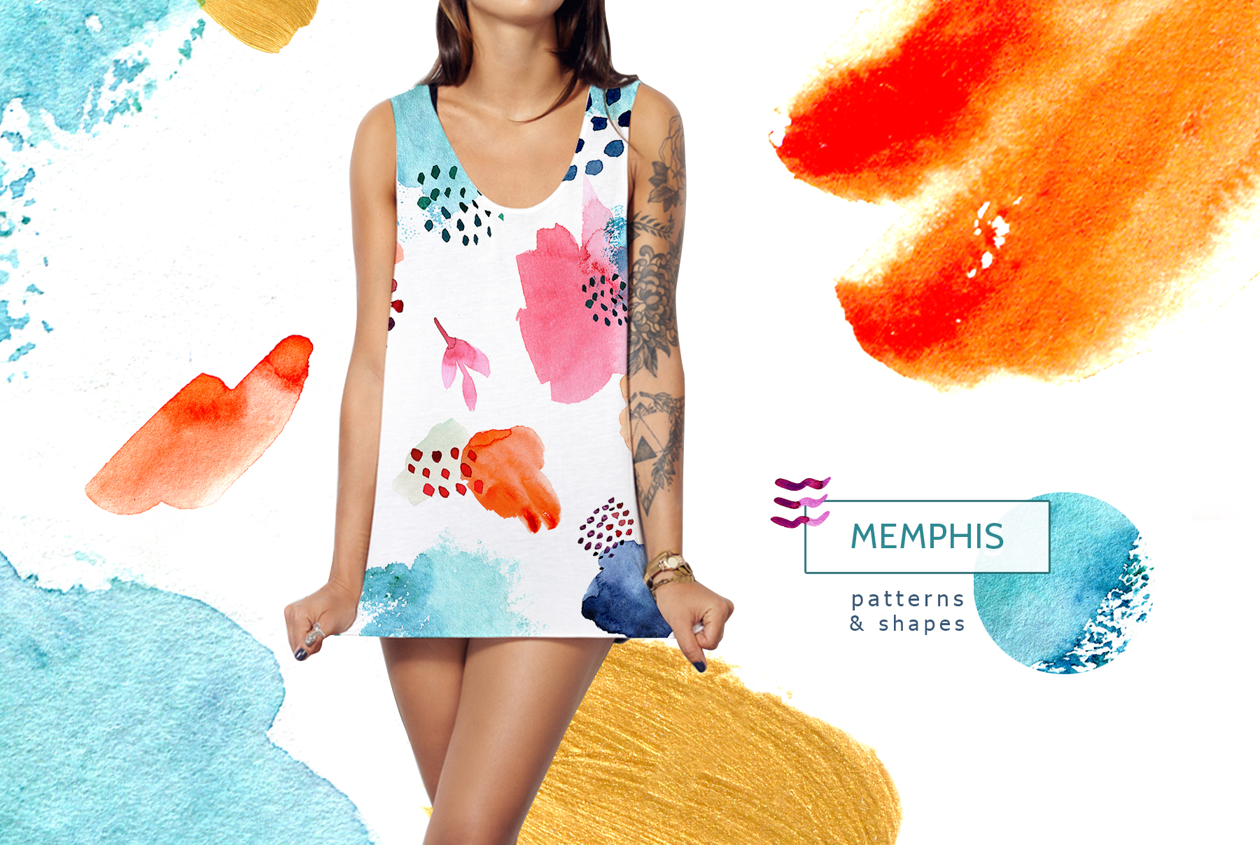 Watercolor memphis patterns & shapes example image 1