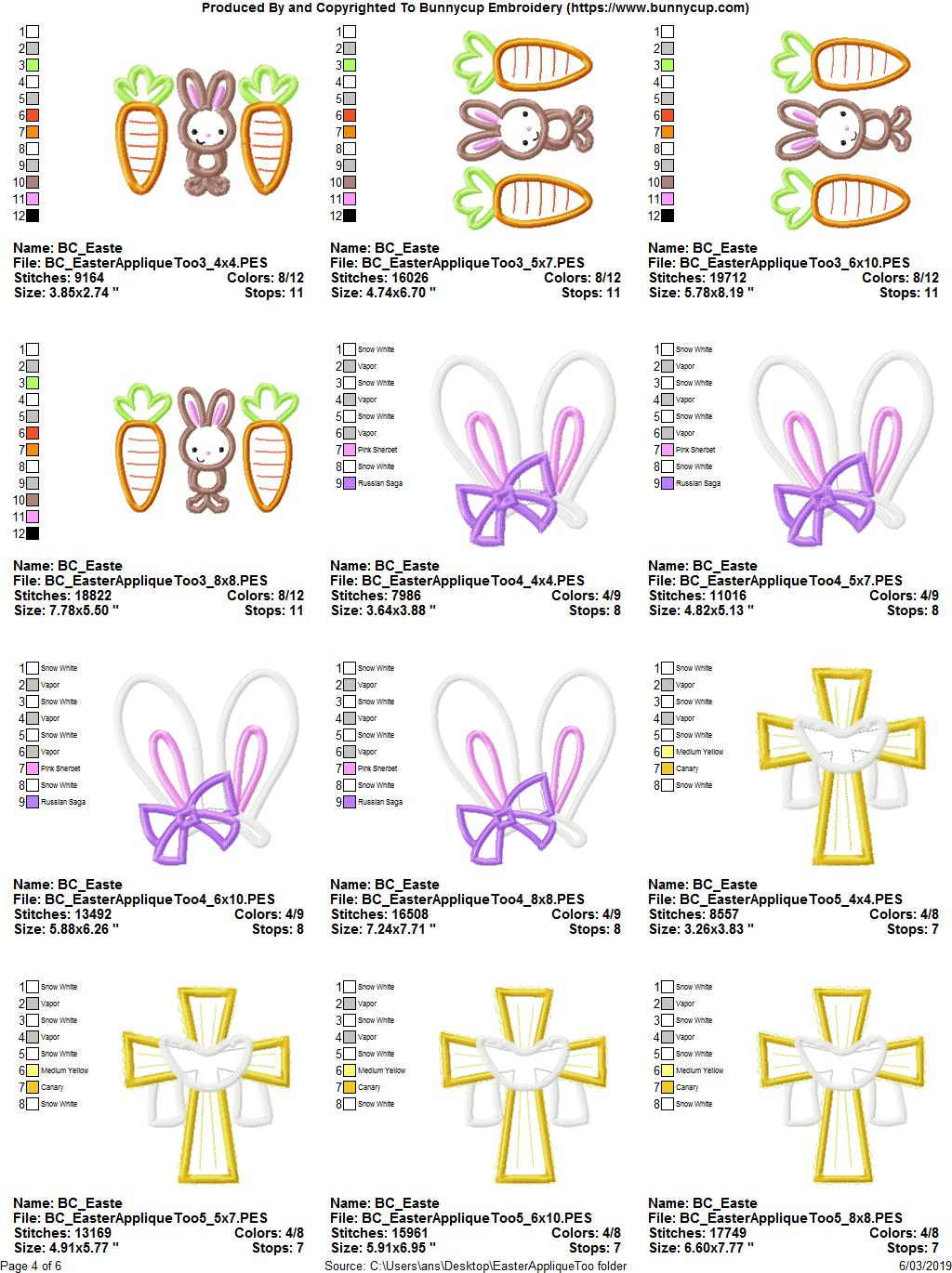 Easter Applique Too - 16 Machine Embroidery Designs example image 21
