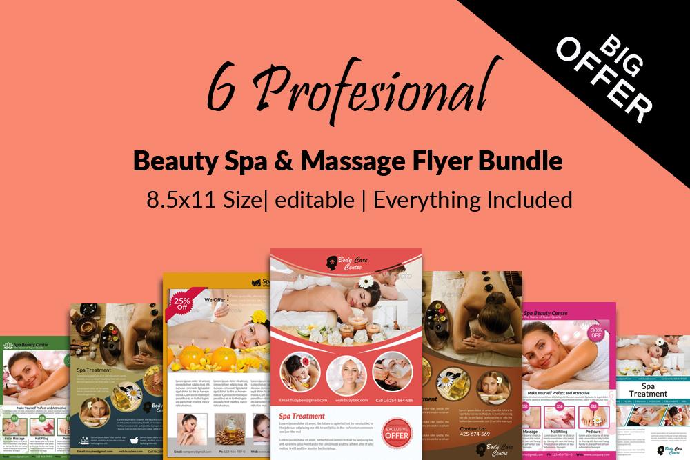 6 Beauty Spa & massage Centre Flyers Bundle example image 1