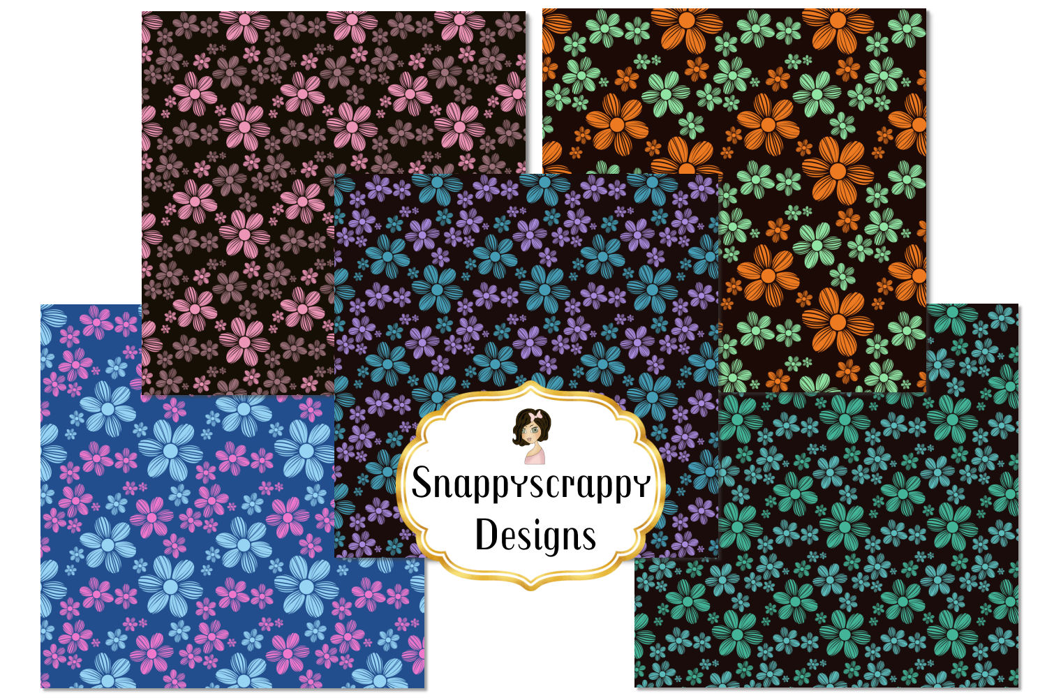 Floral Background Papers example image 2