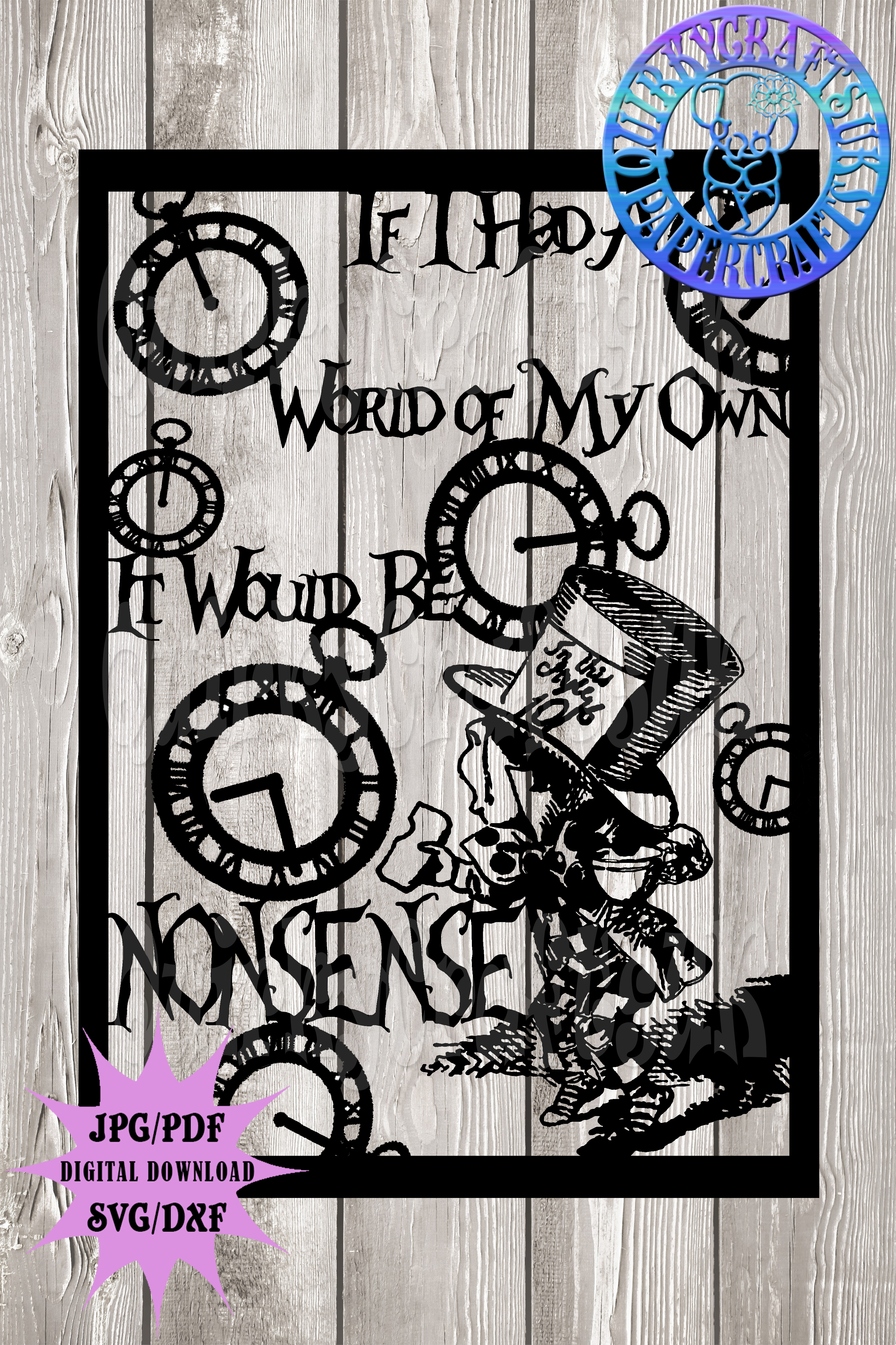 Alice in Wonderland Madhatter's 'Nonsense' template example image 2