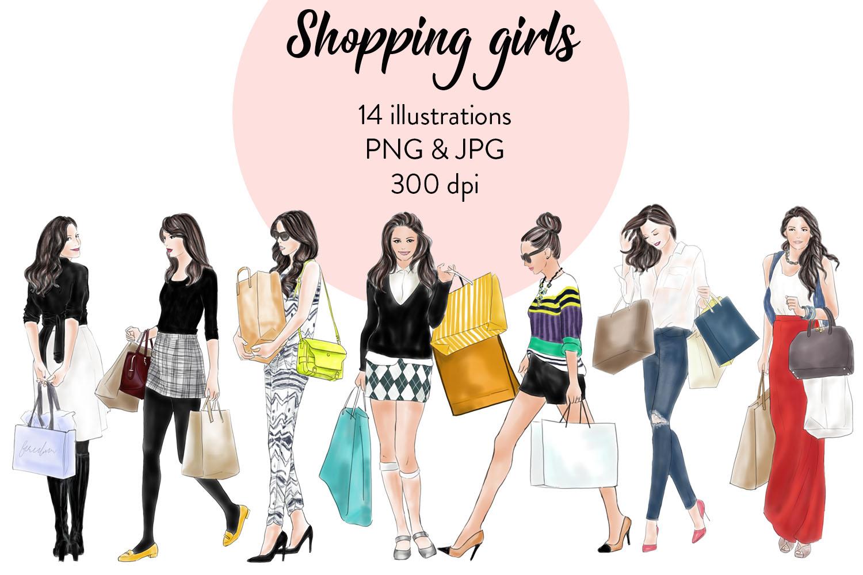 Shopping girls watercolour fashion illustration clipart example image 1