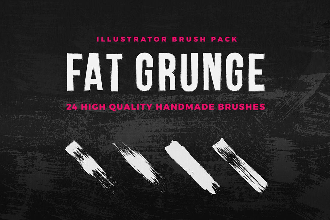 Fat Grunge – Illustrator Brush Pack example image 1