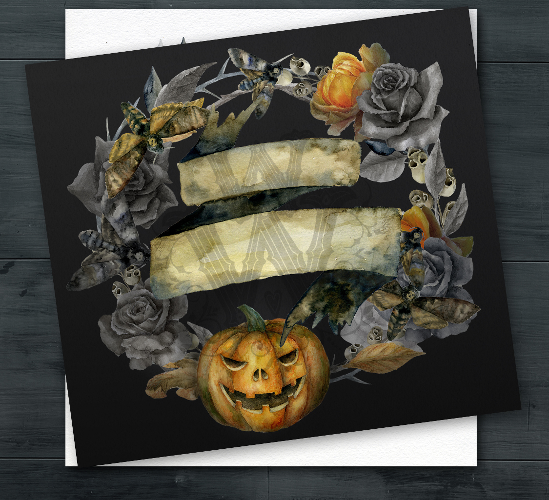 Watercolor Halloween compositions, skull bouquets wreath example image 3