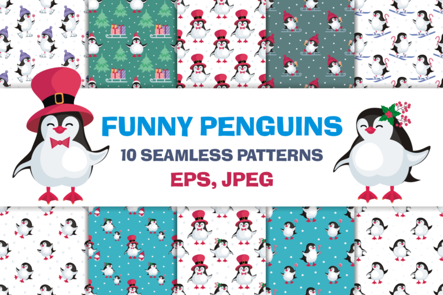 Christmas bundle. Vector cliparts and seamless patterns example image 9