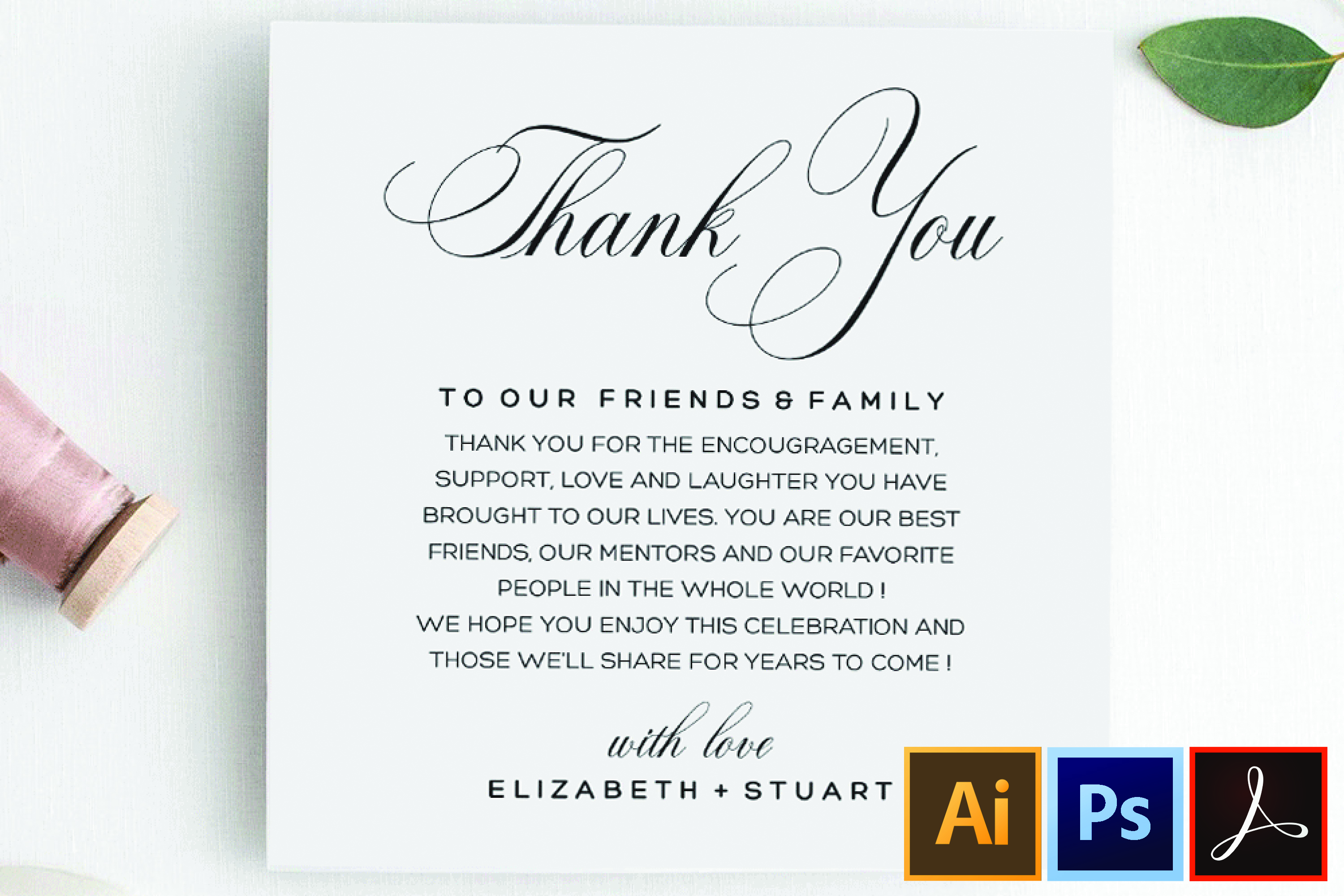 Printable Thank You Letter Template, Wedding Table Thank You example image 1