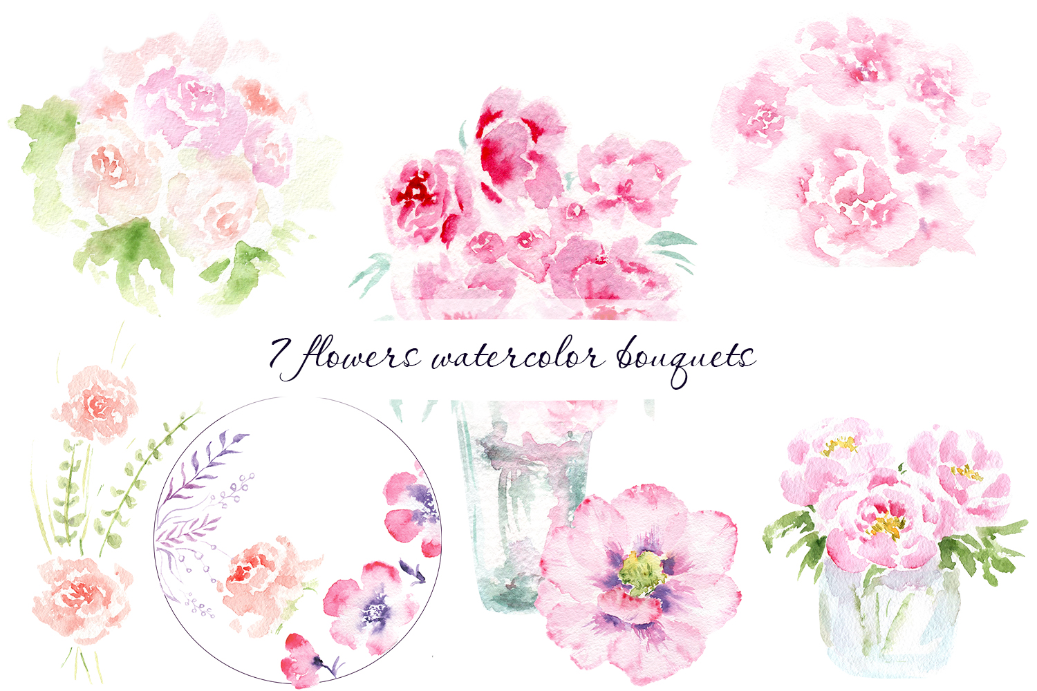Spring mood in watercolor flowers example image 4