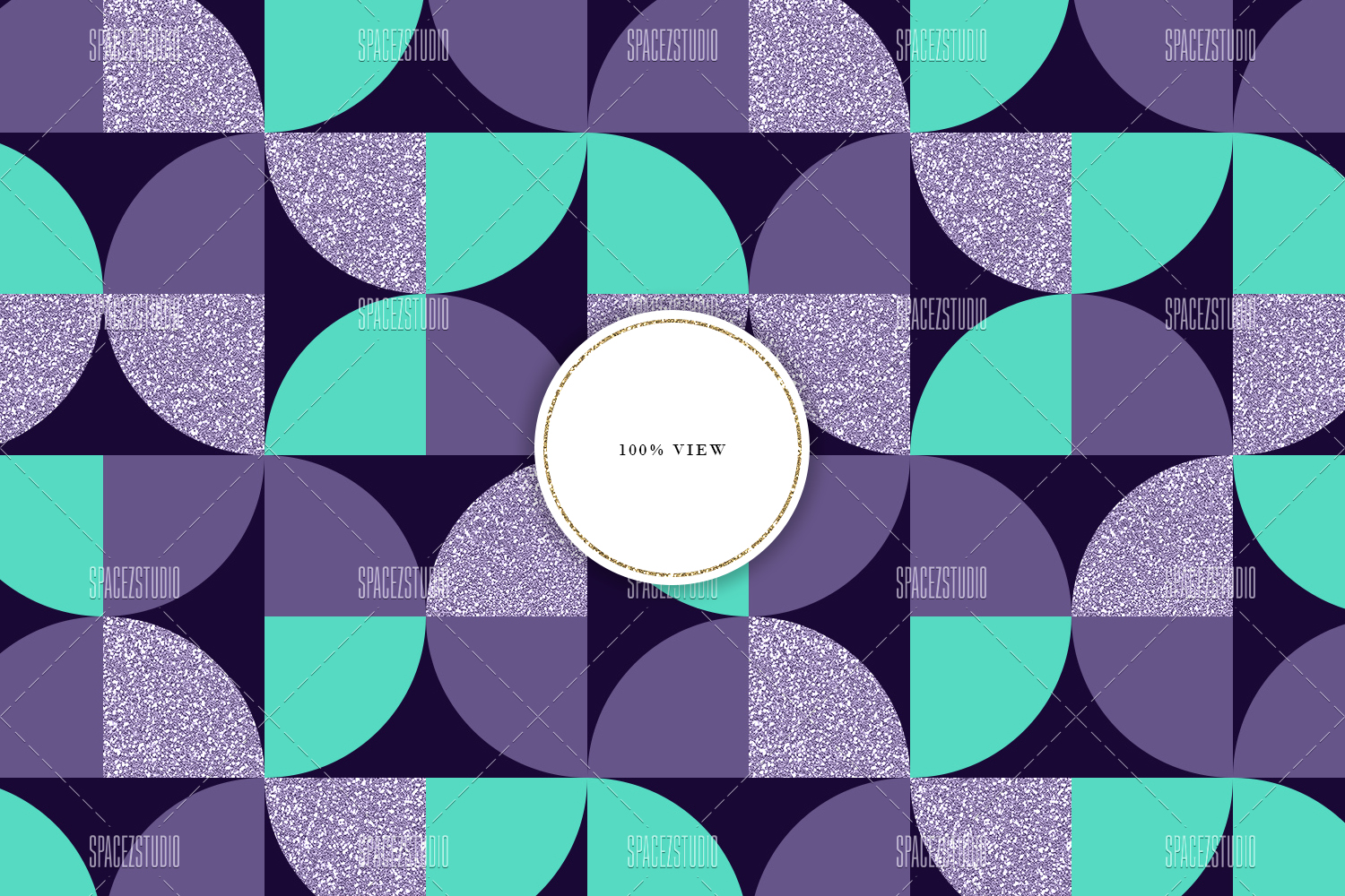 Mint, Purple & Glitter Tileable Geomteric Backgrounds example image 5