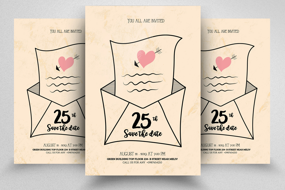 4 Floral Wedding Invitation Flyers Bundle example image 2